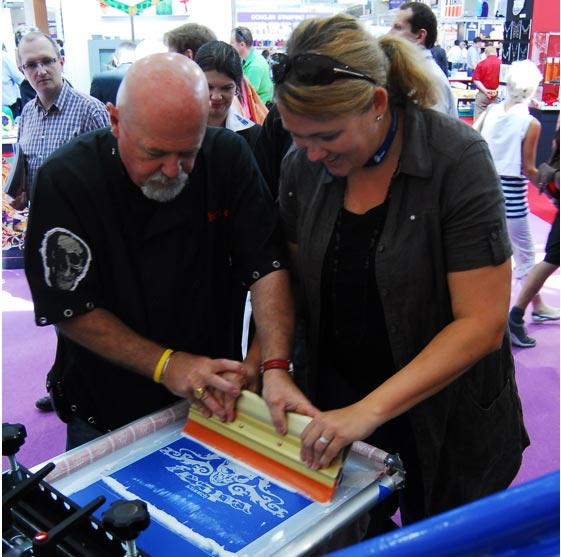 Charlie Taublieb of Taublieb Consulting gives a screen printing workshop